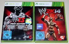 2 XBOX 360 SPIELE BUNDLE - WWE 13 & 15 - WWE 2K14 WRESTLING
