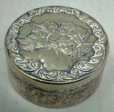 Vintage SIlver Plated Pin Box Decorated with Reynolds Angels
