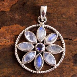 Moonstone Gemstone Pendant 925 Solid Sterling Silver HANDMADE Fine Jewelry