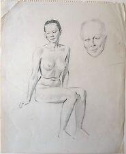 Harry Arthur Riley R.I. (1895-1966) Life drawing, female sitting + head study