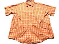 LL Bean Mens Orange Plaid Front Pocket Button Front Shirt Size 2XL
