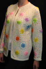 M SOFT WHITE NEON EMBROIDERED FLORAL VTG 60s ROCKABILLY OPEN SWEATER CARDIGAN