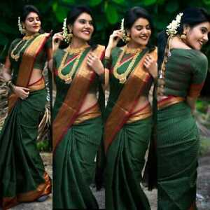 Bollywood Party Green Saree With Blouse Stylish Indian Pakistani Banarasi Saree