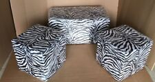 Pouf puffo da arredo tessuto zebrato per locali,bar,discoteche tris di pouf