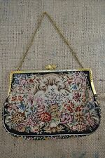 Vintage 1940s black petit point needlepoint tapestry evening bag marcasite clasp