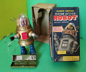 PISTON ACTION ROBOT PUG ROBBY NOMURA Blue / Gold OLD TIN TOY JAPAN ORIGINAL 1960