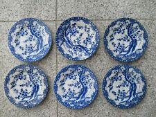 6 ASSIETTES DESSERT Porcelaine Japonaise TONS BLEUS 16 cm
