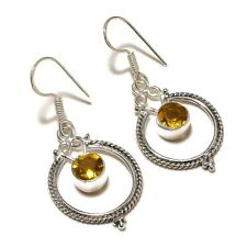 Faceted Citrine Round Gemstone silver plated Handmade Dangle Designer Earrings