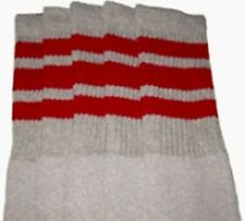 "22"" KNEE HIGH GREY tube socks with RED stripes style 1 (22-58)"