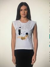 MOSCHINO WHITE STUDDED TOP SIZE 8-10  ** L@@K *** BNWT