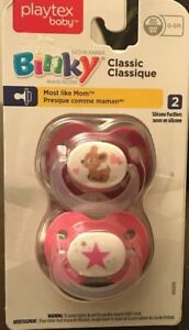 Playtex Silicone Binky Pacifiers, Newborn, 0-6 Months - 2 Pack Fawn & Star