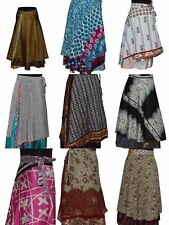 Wrap Around Skirt 2 Pcs Lot Vintage Silk Sari Reversible Skirt 2 Layer Beach