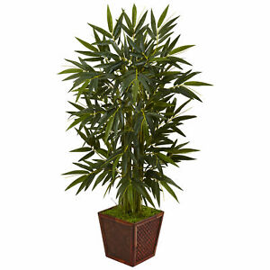 Nearly Natural 4' Bamboo Tree In Wooden Planter Artificial Plant Home Decoration