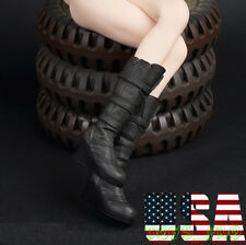 "1/6 Scale Combat Boots BLACK For 12"" Phicen Hot Toys Female Figure ❶USA❶"