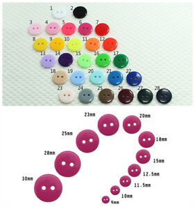 28 Colors 9 Size 2-Hole Buttons Bulk/Job Lot/Scrapbooking/Card Making/Crafting