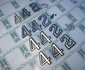 "1969-1970 Olds Cutlass ""442"" Nose Panel, Fenders & Trunk Emblem Set w/ Hardware"