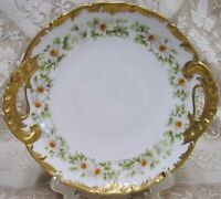 antique limoges t & v france hand painted daisies handled serving cake plate