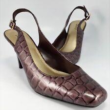 Dexter Slingback Pumps Womens Size 8.5M  Lavender Faux Alligator/Crocodile Heels