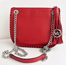 Michael Kors Bolso / Bag Azotado Chelsea Sm Mensajero Cuero Rojo Nuevo