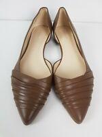 NINE WEST DELINA Brown Leather D'Orsay Flat Shoe Women's Size EUR40.5 US10.5 M