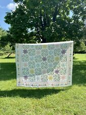 Vintage Aunt Rachels Star Stripe Floral Cottagecore Patchwork Quilt 82 x 84 inch