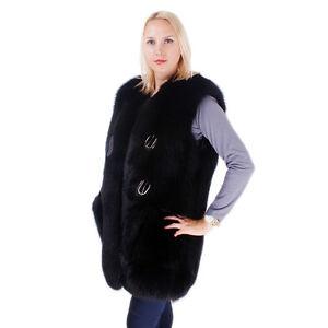 Genuine Black Fox Fur Vest! Waistcoat Gilet Fur Sleeveless Jacket Real Fur FOX