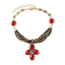 Red Coral Beaded Necklace Pendant Choker Ruby Flower Gold Chain Collar Jewellery