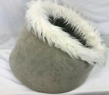 """Furhaven Cat Dog Pet Bed Cave Gray with White Faux Fur About 17"""" in Diameter"""