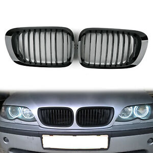 Front Fence Grill Grille ABS Gloss Blk Mesh For BMW E46 2D 1998-01 3Series