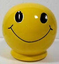Smiley Face Coin Bank Ceramic Yellow