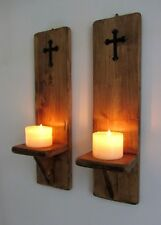 PAIR OF 40CM RECLAIMED WOOD RUSTIC GOTHIC CHURCH WALL SCONCE LED CANDLE HOLDERS