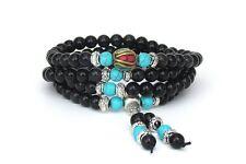 Mala Beads Stretch Bracelet, Black Obsidian Tiger Eye Buddhist Prayer Beads