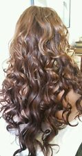 Beautiful Lace Front Wig Honey Blonde/Brown/dark Auburn nape Long Curly Ht Safe