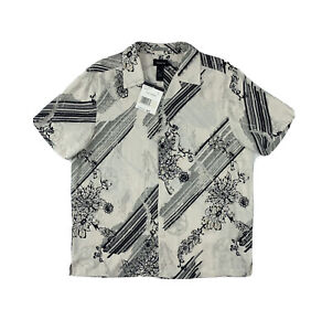 Claiborne Silk Shirt Large Hawaiian Short Sleeve White Floral Button Down