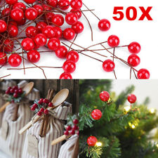 50X Christmas Xmas Red Berry Pick Holly Branch Wreath Decoration Craft Decor