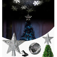 Christmas Tree Topper Lighted Star Rotating Decorations Projector 3D Glitter