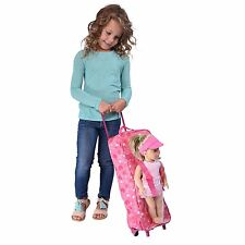 """Doll Travel Case Suitcase Storage Bag with Sleeping Bag Fits 18"""" Dolls"""