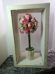 """12""""  glass and wood box  W/ Rose Topiary Artificial Flowers one bud fallen"""