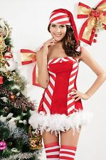 SEXY CHRISTMAS CANDY STRIPE FEATHERS TIE BACK FANTASY PARTY COSPLAY COSTUME/8-12