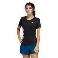 adidas Womens Run It 3 Stripes T Shirt Tee Top - Black Sports Running Breathable