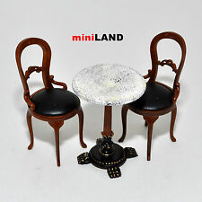 """BISTRO TABLE and 2 Chairs Quality coffee shop restaurant  dollhouse miniature 1"""""""