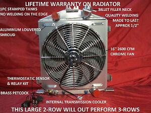 1932 Ford Lo Boy Low Boy Street Rod Rat Rod Aluminum Radiator Shroud Fan & Relay