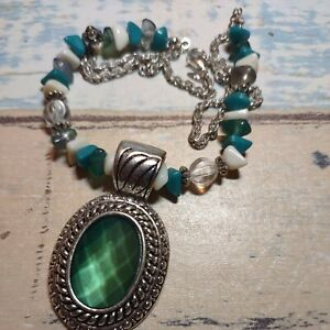"""Vtg Avon Silverplate Beaded Statement Necklace with faceted green pendant 17"""""""