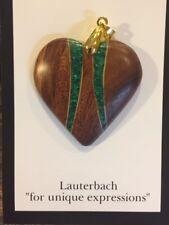 "Carved Koa Maple Wood Malachite Green Heart Pendant Craig Lauterbach 1.5"""