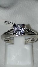925 SILVER STIMULATED DIAMOND SOLITAIRE ENGAGEMENT RING SZ N USA 7 EUR 54