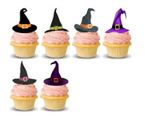 EDIBLE WITCHES HATS CAKE TOPPERS PRECUT PERFECT FOR HALLOWEEN
