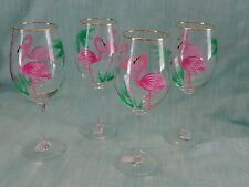 TROPICAL Flamingo Painted  GOLD Wine GOBLETS STEMWARE WINE GLASSES SET OF 4 NEW