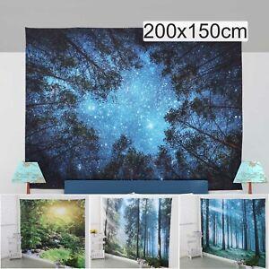 3D Forest Wall Hanging Tapestry Landscape Blanket Decor Bedspread Large Room