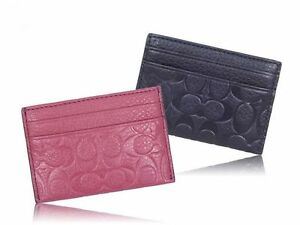 COACH F63357 SIGNATURE EMBOSSED PEBBLE LEATHER CARD CASE SUNSET RED