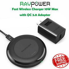 RAVPower Fast Wireless Charger 10W Max with QC 3.0 Adapter RP-PC058 PB07